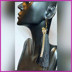 🏷 🆕 Gold & Black Tassel Earrings + Rhinestones
